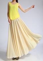 YELLOW High Waist Chiffon Maxi Skirt Women Flowing Long Wedding Bridesmaid Skirt image 5