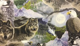 """Wolf Wolves Eagle Wild HaNdMaDe Window Valance Topper Cotton fabric 43""""W... - $10.88"""