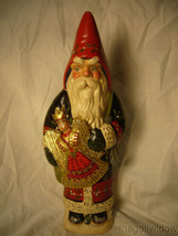 Vaillancourt Folk Art Black and Red Father Christmas with Angel Signed image 1