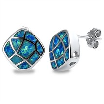 .925 Sterling Silver Overlay Blue Lab Opal Earring - $25.97