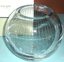 "Kate Spade Marlborough Street Rose Bowl 8"" Etched Crystal Pinstripes New... - $119.90"