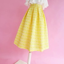 Lady Yellow Midi Party Skirt Spring Plus Size Full Pleated Skirt w. Wing Pattern image 3