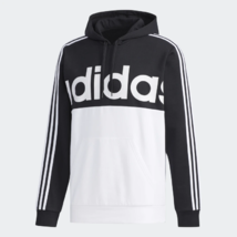 adidas Essential Colorblock Pullover Black / White Training Hoodie Adult... - $49.49