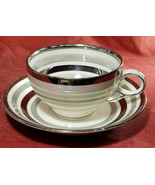 STAFFORDSHIRE TEACUP SET IRIDESCENT SILVER & MINT BAND  BARRATTS REGENCY... - $2.98