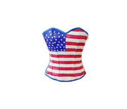 Blue Satin Red White Sequins USA Flag Gothic Burlesque Costume Overbust ... - $74.99