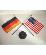 "German Germany w/ USA America American Flag 4""x6"" Desk Set Table Black Base - $6.40"