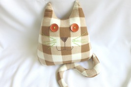 Handmade Checked Throw pillow, home decoration, cat shaped design, birth... - $35.00