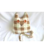 Handmade Checked Throw pillow, home decoration, cat shaped design, birthday gift - £26.76 GBP
