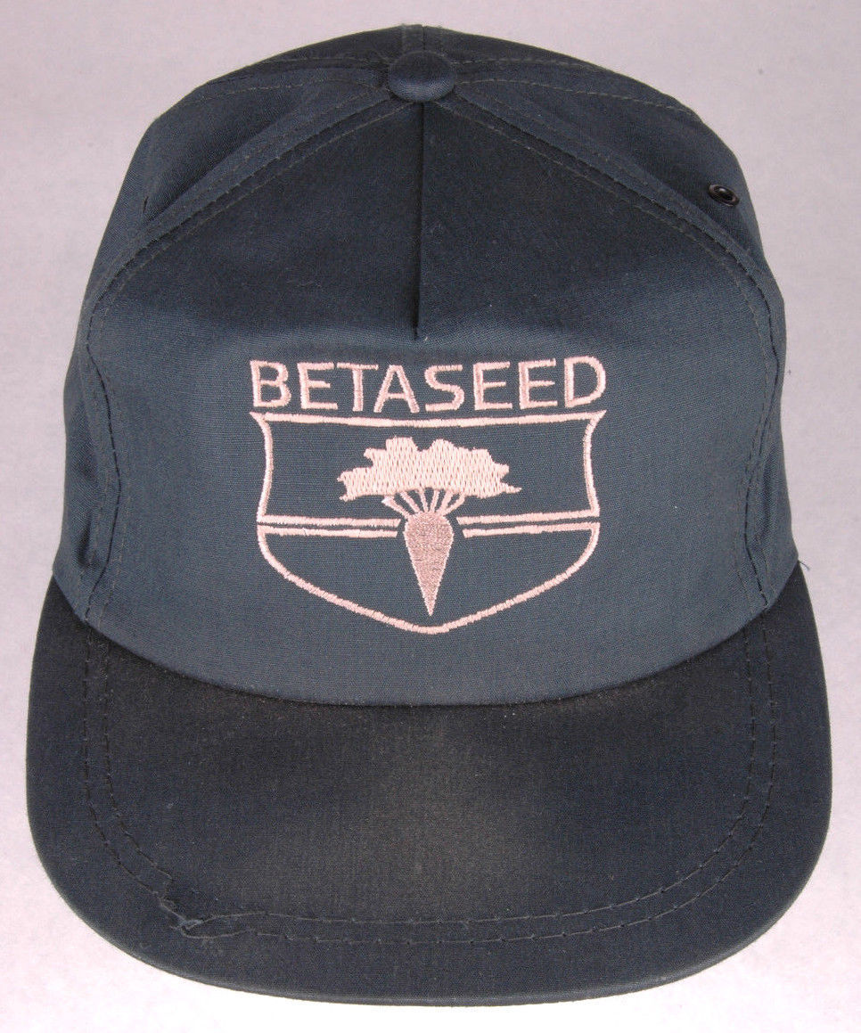 Vtg BETASEED Hat-Green-Metal Eyelets-Carrot Logo-Agriculture Farm-Seed Productio