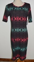 New LuLaRoe Dress Julia Pink Green Short Sleeve Large - $29.91