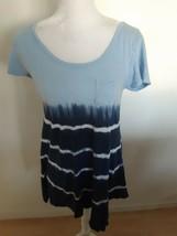 Fresh Produce Shirt Blue Tie Dye Cap Short Sleeves Sz XS 100% Cotton Mad... - $22.72