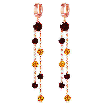 Primary image for 14K Solid Rose Gold Chandelier Earrings with Garnets & Citrines Fine Gemstone