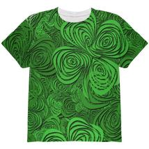 St Patricks Day Trippy Irish Clover Field All Over Youth T Shirt - $24.95