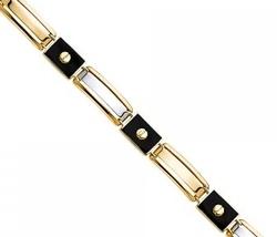 Men's 14K Two Tone Gold & Black Enamel Bracelet image 4
