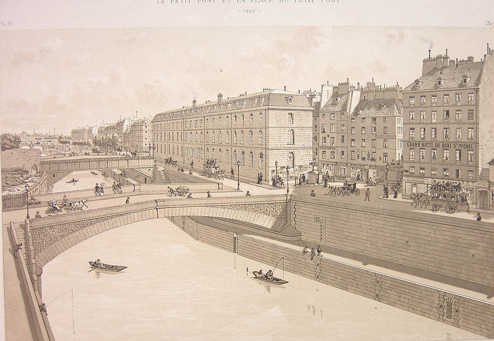 PARIS Place du Petit Pont Seine River in 1880 - Litho Antique Print