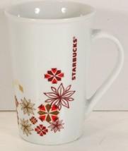 2013 Starbucks Mug Snowflakes Poinsettia red gold Tall 12 oz - $8.99