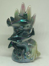 Three Ocean Dolphins Swimming Coral Figurine Iridescent Porcelain Vintag... - $12.00