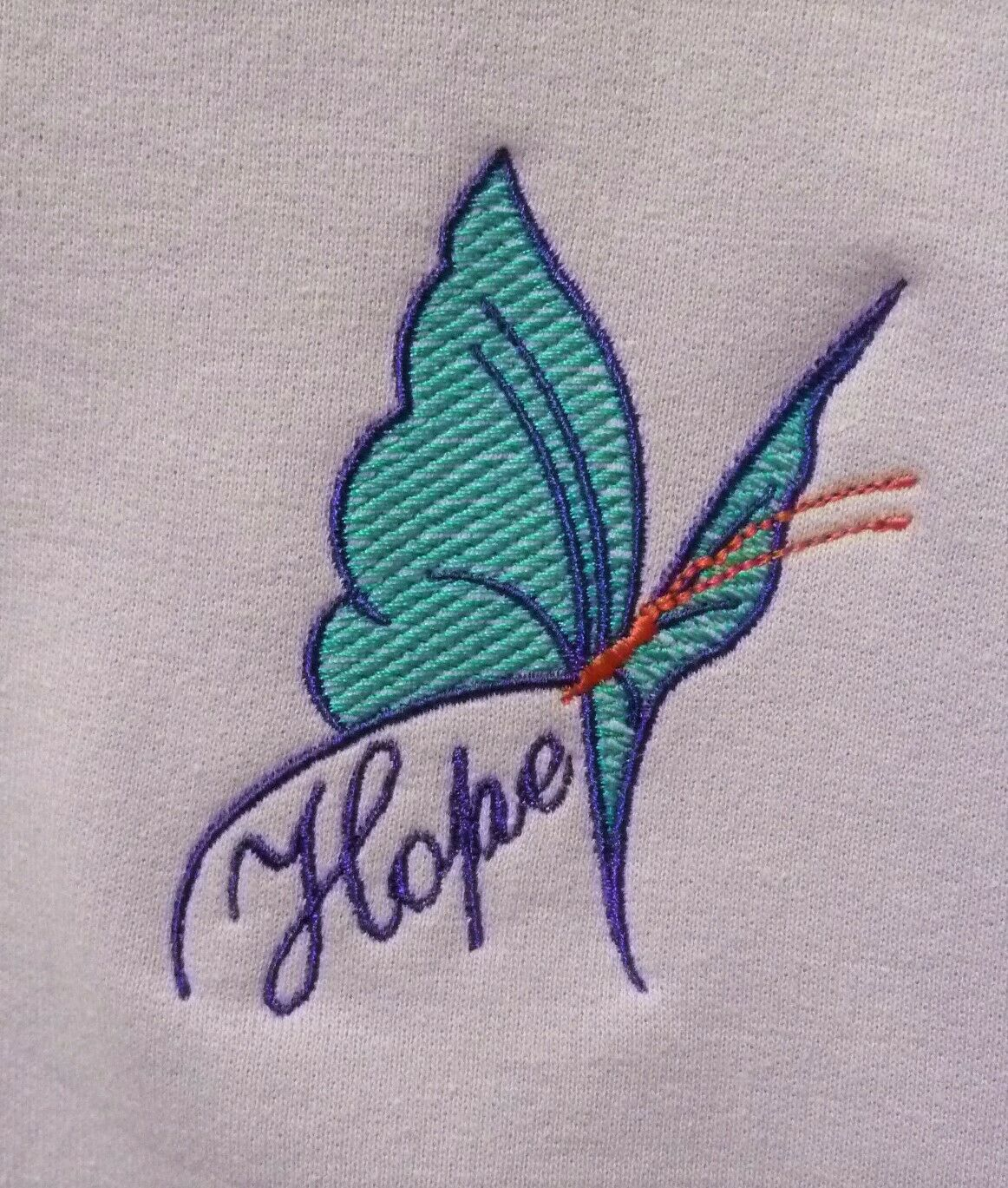 Primary image for Purple/Turquoise Butterfly HOPE Crew M Orchid Sweatshirt Cancer Aware Unisex Nw