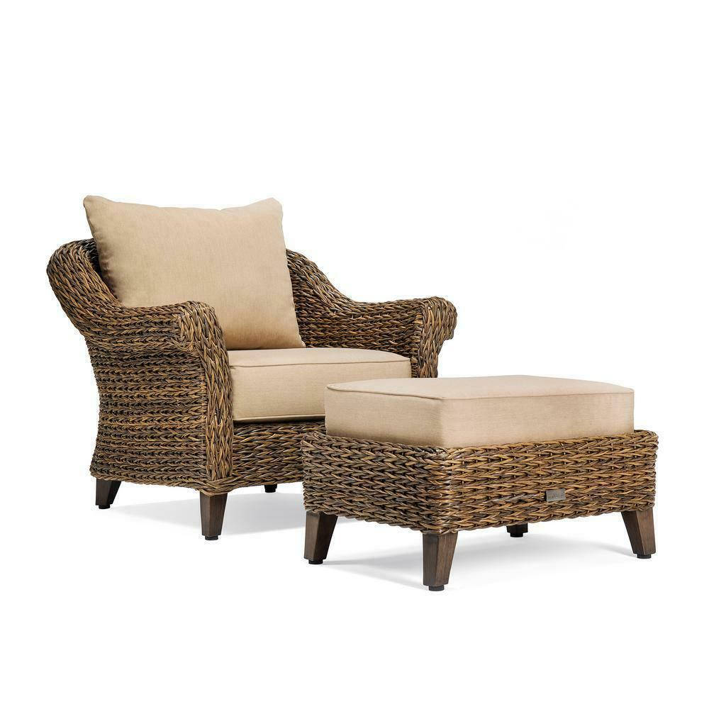 Outdoor Seating Furniture Ottoman with Sunbrella Canvas Heather in Beige Cushion