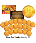 (Lot of 20) 1940's/50's Geninue Lincoln Head WHEAT Pennies Coins 24K GOL... - €13,38 EUR