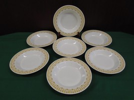 Syracuse China SY581 Restaurant Ware 7 RIMMED SOUP BOWLS Yellow Brown So... - $48.37
