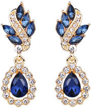 EleQueen Women's Austrian Crystal Art Deco Tear Drop Dangle Clip-on Earr... - $34.75