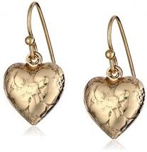 1928 Jewelry Brass Heart Charm Earrings - $30.42