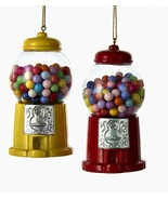 "KURT ADLER SET OF 2 RESIN 3.5"" GUMBALL MACHINE CHRISTMAS ORNAMENTS  - $18.88"