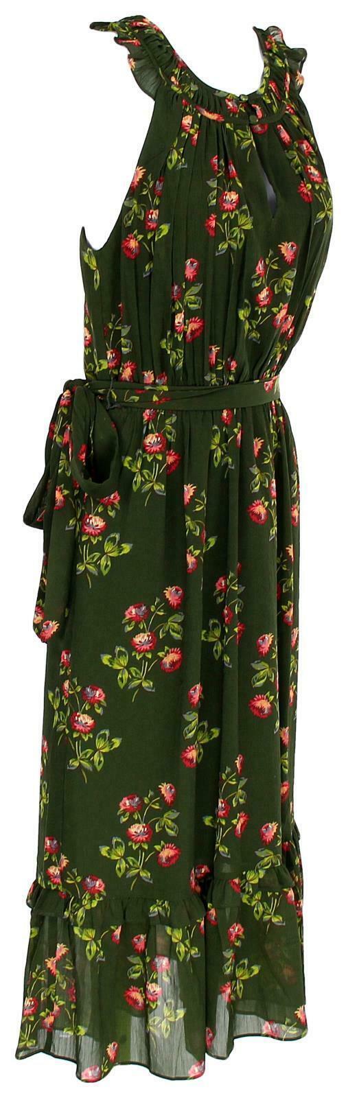 J Crew Women's Point Sur High-Neck Ruffle Floral Dress Chiffon 4 J5088 image 2