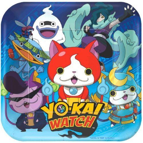 """Yo-Kai Watch 8 7"""" Dessert Cake Plates Birthday Party Yokai"""