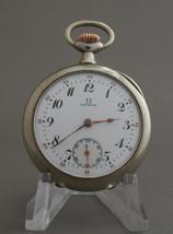 Vintage Omega  M 15 jewels 24 hours dial Red Black Numerals Steel Pocket... - $373.65
