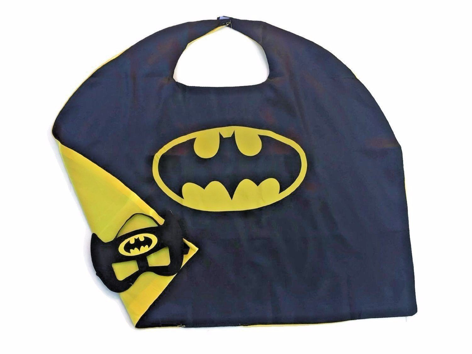 Superhero Child Cape and Mask Satin Lined Cape Black with Yellow  Bat  Ensigna