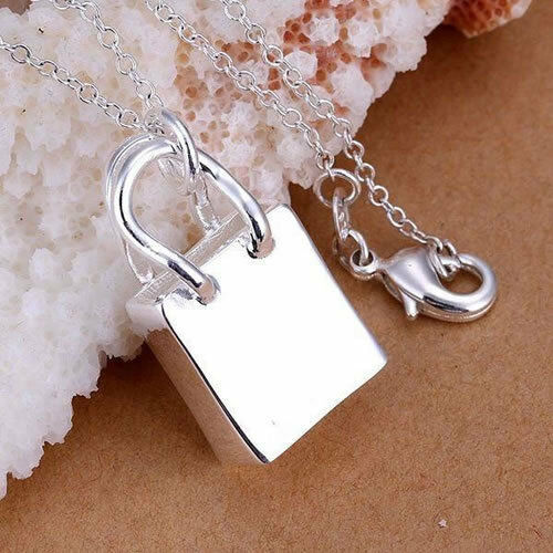 Primary image for Handbag Pendant Necklace 925 Sterling Silver NEW