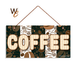 Fun Coffee Sign, Coffee Bean Patterns, 5x10 Wood Sign, Cafe Sign - $11.39
