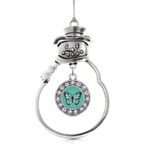 Inspired Silver Teal Butterfly Circle Snowman Holiday Christmas Tree Orn... - $14.69