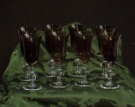 Rare Set of 8 Art Glass Crystal Brown & Clear Wine Stems Pontil Antique... - $890.99