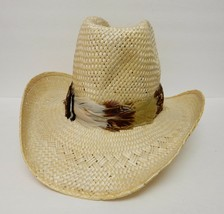Resistol Stagecoach Straw Hat Western Cowboy Feather Band Long Oval Size 7 - $69.95