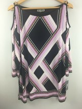 JM Collection Cold Shoulder Top L Large Purple Black Gold Trim Tunic NWT... - $16.30