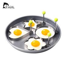 FHEAL 4Pcs/set Stainless Steel Omelette Egg Frying Mold Love Flower Roun... - $11.99 CAD