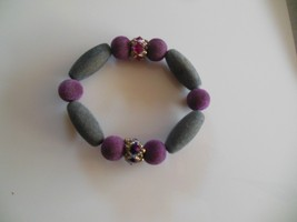 Large Fuzzy Beaded Purple/Grey Stretch Bracelet - $15.99
