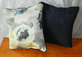 Pair of Blue Flower Print Throw Pillows  10 x 10 - $29.95