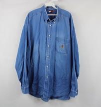 Vintage 90s Tommy Hilfiger Mens XL Casual Denim Jean Button Shirt Blue C... - $36.58