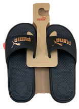 PUMA Cool Cat Women's Slides Sandals Black with Rose Gold Logo NEW - $31.04