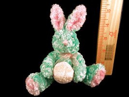 Easter Blue And Pink Bunny Holding Egg Plush Stuffed Animal Toy Doll  - $3.95