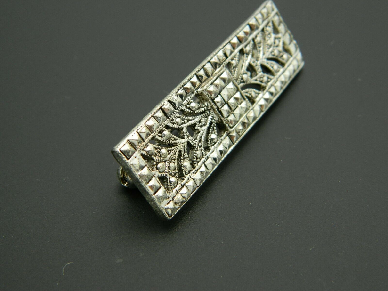 Art Nouveau Style Faux Marcasite Silver Tone Floral Pin Brooch Vintage image 2