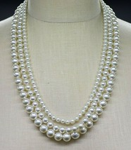 Silver Faux Pearl Three Strand Multi-Strand Rhinestone Clasp Choker Neck... - $29.69