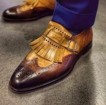 Handmade Men's Brown & Tan Heart Medallion Wing Tip Fringe Oxford Leather Shoes image 3