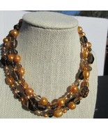 Brown Tone Three Strands Choker Bead Necklace. - $14.75