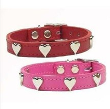 Dog Heart Studs Leather Collar  Red Pink studded - $16.99+