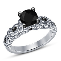 Women's Engagement Ring Round Cut Black CZ 14k White Gold Plated Sterlin... - ₨5,080.50 INR